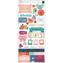 """Pink Paislee Paige Evans Pick Me Up 6""""x12"""" Accent & Phrase Stickers 310634"""