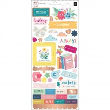 """Pink Paislee Paige Evans Whimsical 6""""x12"""" Accent & Phrase Stickers 310723"""