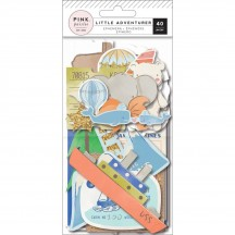 Pink Paislee Little Adventurer Boy Die Cut Cardstock Ephemera Pack 310753