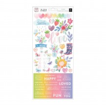 "Pink Paislee Paige Evans Bloom Street 6""x12"" Accent & Phrase Stickers 310986"