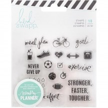 Heidi Swapp Memory Planner Fresh Start Exercise Clear Stamp Set 313898