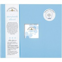 """Doodlebug Bubble Blue D-Ring 12""""x12"""" Faux Leather Storybook Scrapbooking Album 3199"""