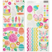 """American Crafts Hello Spring 6""""x12"""" Accent & Phrase Stickers 320549"""