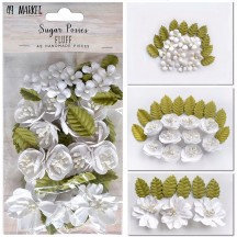49 and Market Sugar Posies Fluff White Flowers & Leaves SUG-32440