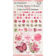 49 and Market Vintage Artistry Blush Pink Wishing Bubbles & Baubles Epoxy Coated Sticker Embellishments VAC33416