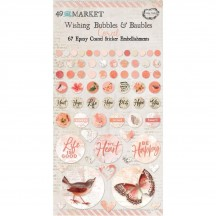 49 and Market Vintage Artistry Coral Wishing Bubbles & Baubles Epoxy Coated Sticker Embellishments VAC33423