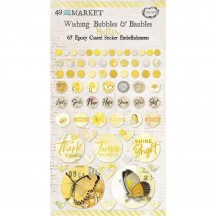 49 and Market Vintage Artistry Butter Yellow Wishing Bubbles & Baubles Epoxy Coated Sticker Embellishments VAC33430