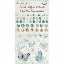 49 and Market Vintage Artistry Sky Blue Wishing Bubbles & Baubles Epoxy Coated Sticker Embellishments VAC33454