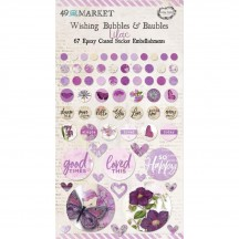 49 and Market Vintage Artistry Lilac Wishing Bubbles & Baubles Epoxy Coated Sticker Embellishments VAC33461