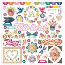 "American Crafts Paige Evans Wonders 12""x12"" Self Adhesive Chipboard Accents 34004824"