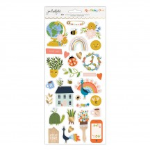 """American Crafts Jen Hadfield Reaching Out 6""""x12"""" Accent & Phrase Stickers 34005566"""
