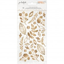 American Crafts Jen Hadfield Peaceful Heart Gold Puffy Leaf Stickers 34008024