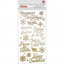 Crate Paper Busy Sidewalks Hustle & Bustle Christmas Gold Puffy Accent & Phrase Thickers 34010595