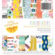 """American Crafts Amy Tangerine Finders Keepers 6""""x6"""" Paper Pad 340231 36 Sheets"""