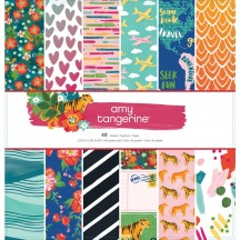 """American Crafts Amy Tangerine Hustle & Heart 12""""x12"""" Paper Pad 48 Sheets 341882"""