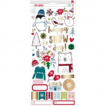 "American Crafts Sweater Weather 6""x12"" Accent & Phrase Christmas Stickers 343454"