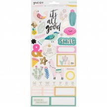 """Crate Paper Good Vibes 6""""x12"""" Accent Cardstock Stickers 344314"""