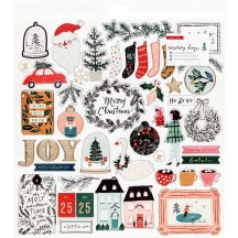 "Crate Paper Merry Days 12""x12"" Self Adhesive Chipboard Christmas Accents 344509"