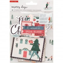 Crate Paper Merry Days Ephemera Die-Cut Cardstock Christmas Embellishments 344521