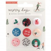 Crate Paper Merry Days Fabric Buttons Christmas Embellishments 344523