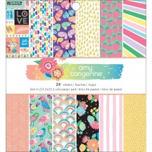 """American Crafts Amy Tangerine Sunshine & Good Times 6""""x6"""" Paper Pad 345683 24 Sheets"""