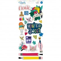 "American Crafts Shimelle Box Of Crayons 6""x12"" Accent & Phrase Stickers 346612"