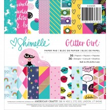 """American Crafts Shimelle Glitter Girl 6""""x6"""" Paper Pad 343658 36 Sheets"""
