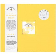 """Doodlebug Bumblebee Yellow D-Ring 12""""x12"""" Faux Leather Storybook Scrapbooking Album 3486"""