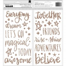 American Crafts Shimelle Head In The Clouds Gold Glitter Foam Phrase Thickers 349463