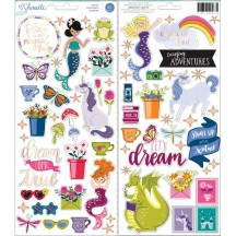 "American Crafts Shimelle Head In The Clouds 6""x12"" Accent & Phrase Stickers 349467"
