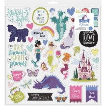 "American Crafts Shimelle Head In The Clouds 12""x12"" Self Adhesive Chipboard Accents 349469"