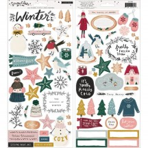 """Crate Paper Snowflake 6""""x12"""" Accent Cardstock Stickers 350981"""