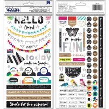 American Crafts Vicki Boutin Color Kaleidoscope Hello Friend Chipboard Thickers 351101
