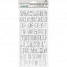 American Crafts Vicki Boutin Let's Wander Paperwork Printed Chipboard Letter Thickers 355333
