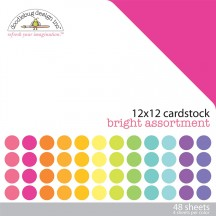 "Doodlebug Bright Solid Textured 12""x12"" Cardstock Assortment 3587"