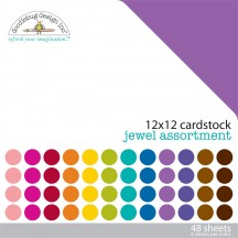 "Doodlebug Jewel Solid Textured 12""x12"" Cardstock Assortment 3589"