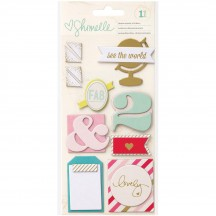 American Crafts Shimelle Layered Dimensional Chipboard Stickers 368165