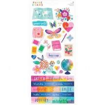 """American Crafts Paige Evans Go the Scenic Route 6""""x12"""" Accent & Phrase Stickers 369768"""