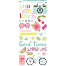 """American Crafts Dear Lizzy Happy Place 6""""x12"""" Accent & Phrase Stickers 373668"""