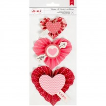 American Crafts Valentine Adhesive 3D Embellishments - Heart Rosettes 374659