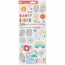 "American Crafts Amy Tangerine Oh Happy Life 6""x12"" Accent & Phrase Clear Stickers 376234"