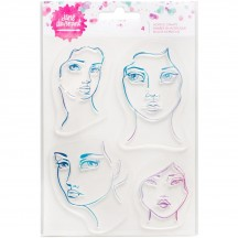Jane Davenport Mixed Media 4 Girl Faces Clear Stamp 376686