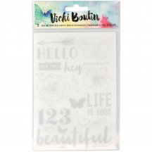 American Crafts Vicki Boutin Mixed Media Silver Accents & Phrases Rub-Ons 376848