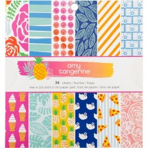 """American Crafts Amy Tangerine On a Whim 6""""x6"""" Paper Pad 378744 36 Sheets"""