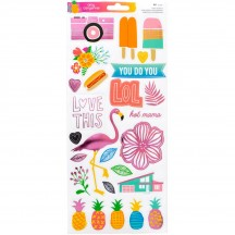"American Crafts Amy Tangerine On a Whim 6""x12"" Accent & Phrase Clear Stickers 378749"