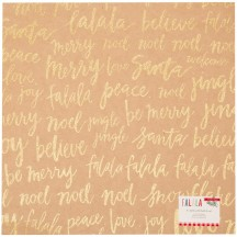"Crate Paper FaLaLa Kraft & Gold Glitter Christmas 12""x12"" Cardstock Sheet 379051"