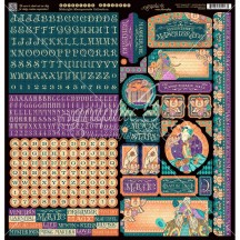 "Graphic 45 Midnight Masquerade 12""x12"" Die-cut Cardstock Alphabet & Element Stickers 4501554"