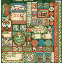 "Graphic 45 Christmas Magic 12""x12"" Die-cut Cardstock Element Stickers 4501740"
