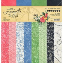 "Graphic 45 Flutter Patterns & Solids 12""x12"" Paper Pad 16 sheets 4501777"