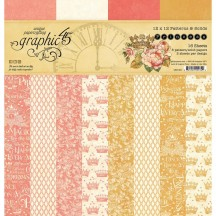 "Graphic 45 Princess Patterns & Solids 12""x12"" Paper Pad 16 sheets 4501801"